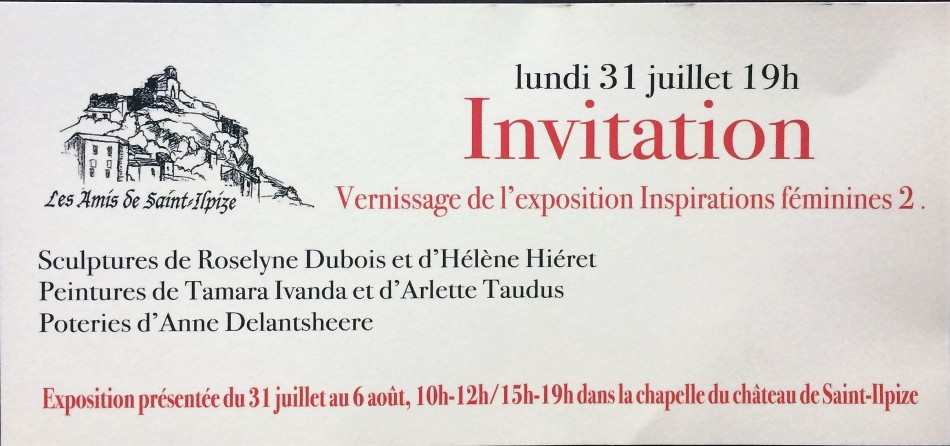 Carton d'invitation vernissage exposition Inspirations féminines 2