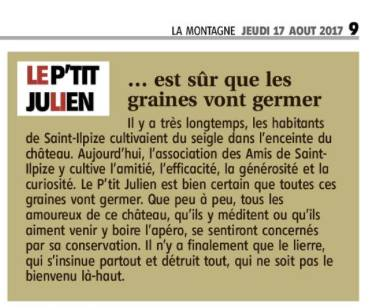 Article La Montagne Le p'tit Julien Chantier international 2017